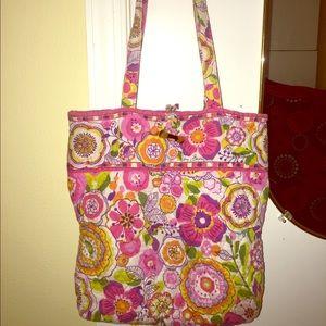 ... White Gold Vera Bradley Pink Floral Tote Messenger Bag Michael Kors ... ea52d56285